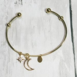 Gold Charm Bangle Bracelet with Star & Moon Charms
